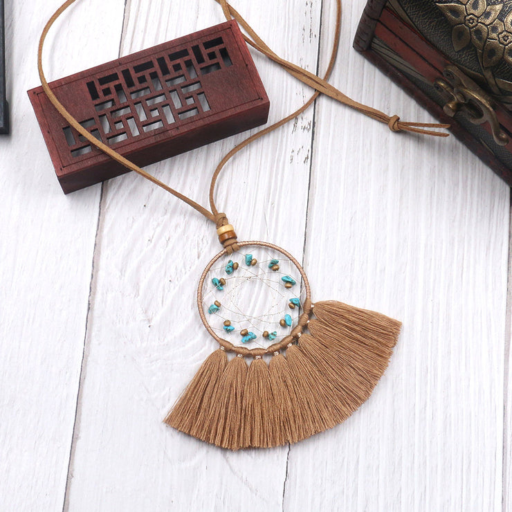 Turquoise Geometric Dream Catcher Long Fringe Necklace-ACC-Wotoba-Coffee-One-size-Wotoba