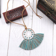 Turquoise Geometric Dream Catcher Long Fringe Necklace-ACC-Wotoba-Green-One-size-Wotoba