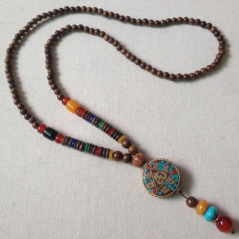 Vintage Ethnic Bodhi Beads Long Necklaces Unisex Chicken Wings Wooden Agate Pendant-Accessories-Wotoba-1#-One-size-Wotoba