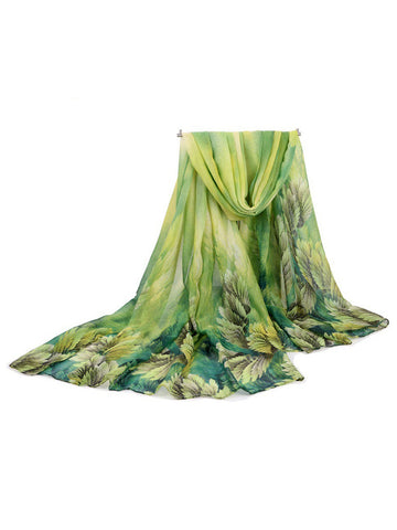 180CM Women Voile Coral Flower Printing Scarves Casual Oversize Warm Soft Shawls-Accessories-Wotoba-Green-One-size-Wotoba