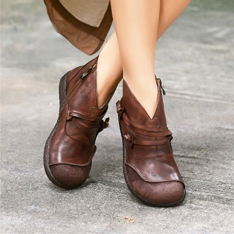 Flat Heel Spring Casual Leather Boots-Shoe-Wotoba-Brown-35-Wotoba