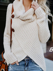 Women Casual Asymmetrical Cotton Knitted Cowl Neck Sweater Tops