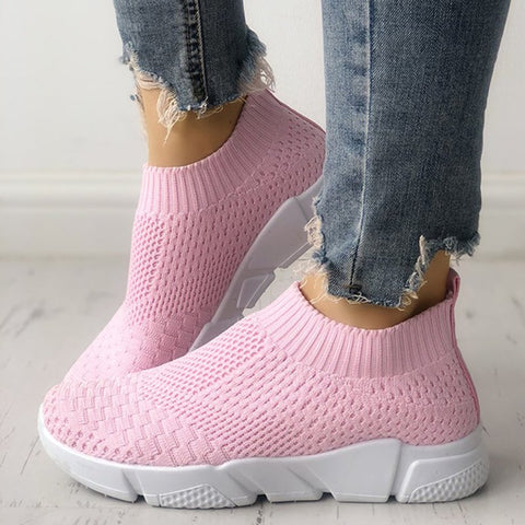 Breathable Elastic Cloth Sneakers Platform Slip On Sneakers-Shoe-Wotoba-Pink-36-Wotoba