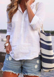 Turn-down Collar Buttoned Summer Long Sleeve Top-TOPS-Wotoba-White-S-Wotoba