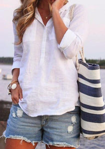Turn-down Collar Buttoned Summer Long Sleeve Top-Top-Wotoba-White-S-Wotoba