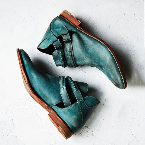 Double-breasted Ankle Booties-Shoe-Wotoba-Green-35-Wotoba