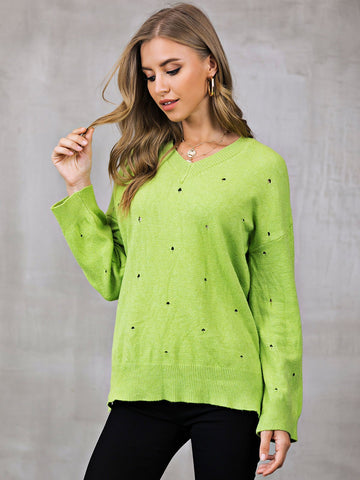 Knitted Shift Long Sleeve Sweater-Top-Wotoba-Green-S-Wotoba