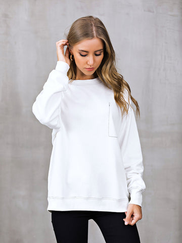 Crew Neck Casual Long Sleeve Shift Sweatshirt-Top-Wotoba-White-S-Wotoba