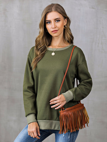 Casual Long Sleeve Sweatshirt-Top-Wotoba-Green-S-Wotoba