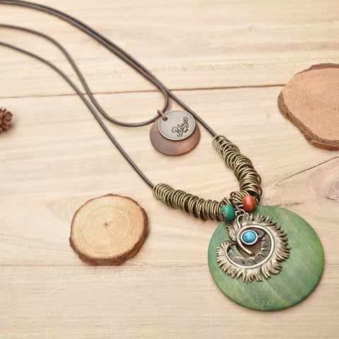 Casual Round Alloy Vintage Sweater Necklace-Accessories-Wotoba-Green-One-size-Wotoba
