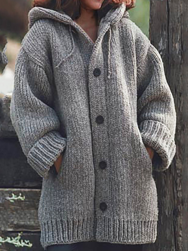 Women Knitted Cardigan Casual Button Plus Size Sweatear with Hoodie Burlington Coats-TOPS-Wotoba-Light Gray-S-Wotoba