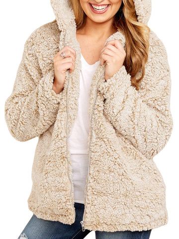 Long Sleeve Cotton-Blend Hoodie Solid Teddy Bear Coats-Top-Wotoba-Khaki-S-Wotoba