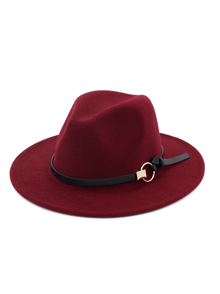 Womens Simple Felt Hats-ACC-Wotoba-Wine Red-One-size-Wotoba