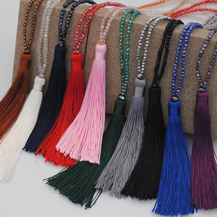 Bohemian Tassel Pendant Crystal Necklaces-ACC-Wotoba-Red-One-size-Wotoba