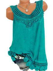 Women Solid Sleeveless Lace Tops Plus Size-TOPS-Wotoba-Green-S-Wotoba