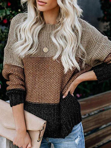 Women Sweater Casual Knitted Color-Block Crew Neck Long Sleeve