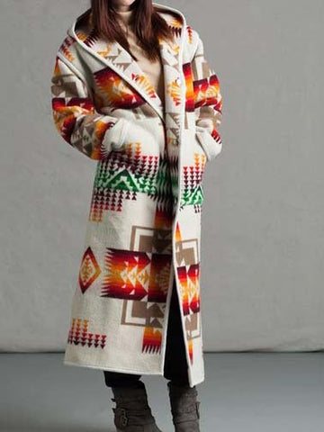 Women Coat Plus Size Hooded Long Sleeve Tribal Casual
