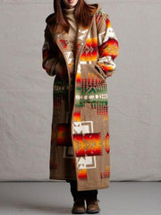 Women Coat Plus Size Hooded Long Sleeve Tribal Casual-TOPS-Wotoba-Khaki-S-Wotoba