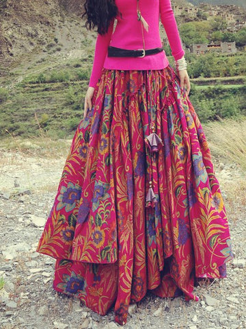Floral Print Skirts Vintage Pleated Maxi Long Skirts