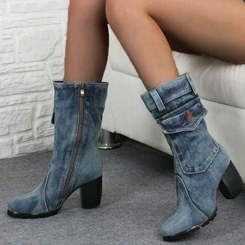Mid-rise chunky with casual denim booties-Shoe-Wotoba-Blue-35-Wotoba