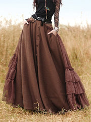 Long Skirts Casual Solid Cotton-Blend Skirts for Women-dress-Wotoba-Coffee-S-Wotoba