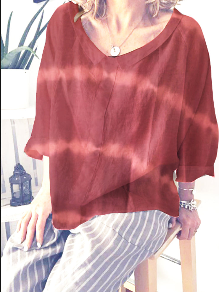 Summer 3/4 Sleeve Shirt Collar Cotton Daily Loose Top-TOPS-Wotoba-Red-S-Wotoba
