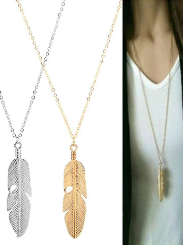 Women Feather Pendant Long Sweater Statement Vintage Chain Necklace-Accessories-Wotoba-Wotoba