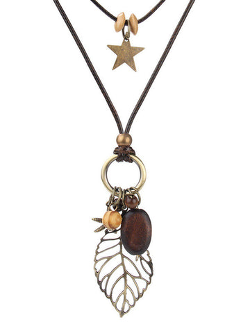 Brown Vintage Leaf Sweater Necklace-Accessories-Wotoba-Brown-One-size-Wotoba