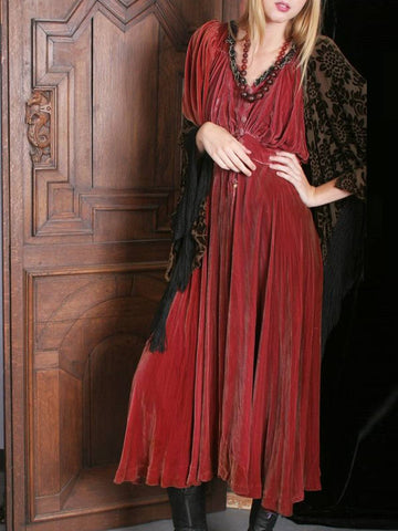 Women Long Dress Vintage Velvet Half Sleeve Red Dresses Plus Size-Top-Wotoba-Red-S-Wotoba