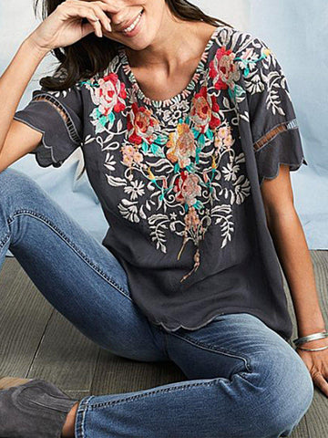Women Boho Shirts Round Neck Floral Casual Floral Plus Size-Top-SH4U4853-Gray-S-Wotoba