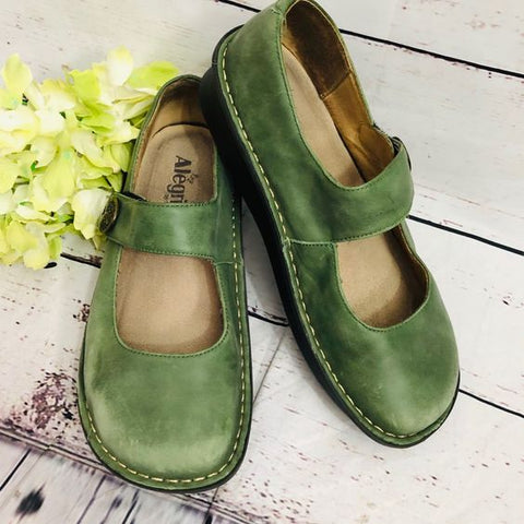 Women Loafers Alegria Paloma Green Mary Jane Vintage Retro