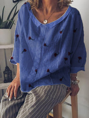 Summer V-Neck Casual Long Sleeve Linen Top-TOPS-Wotoba-Blue-S-Wotoba