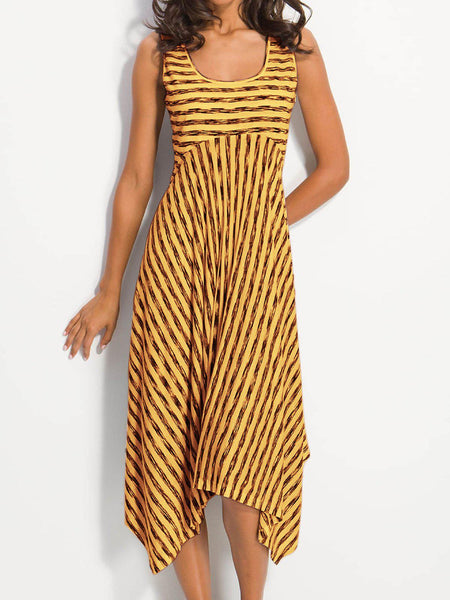 High-rise Stripes A-Line Cotton Crew Neck Dress-dress-Wotoba-Yellow-S-Wotoba