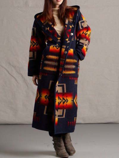 Women Coat Plus Size Hooded Long Sleeve Tribal Casual-TOPS-Wotoba-Blue-S-Wotoba
