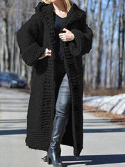 Women Long Sweater Casual Long Sleeve Plus Size Outerwear Cardigan with Hoodie-TOPS-Wotoba-Black-S-Wotoba