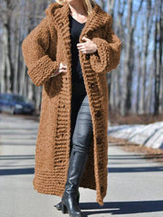 Women Long Sweater Casual Long Sleeve Plus Size Outerwear Cardigan with Hoodie-TOPS-Wotoba-Camel-S-Wotoba