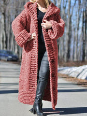 Women Long Sweater Casual Long Sleeve Plus Size Outerwear Cardigan with Hoodie-TOPS-Wotoba-Red-S-Wotoba