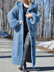 Women Long Sweater Casual Long Sleeve Plus Size Outerwear Cardigan with Hoodie-TOPS-Wotoba-Blue-S-Wotoba