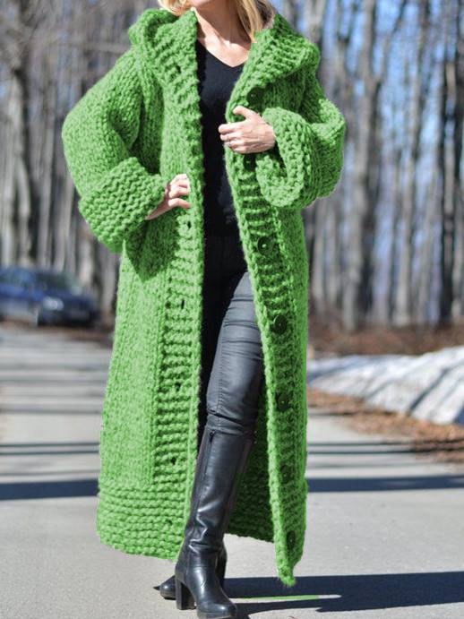 Women Long Sweater Casual Long Sleeve Plus Size Outerwear Cardigan with Hoodie-TOPS-Wotoba-Green-S-Wotoba