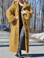 Women Long Sweater Casual Long Sleeve Plus Size Outerwear Cardigan with Hoodie-TOPS-Wotoba-Yellow-S-Wotoba
