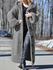 Women Long Sweater Casual Long Sleeve Plus Size Outerwear Cardigan with Hoodie-TOPS-Wotoba-Deep Gray-S-Wotoba