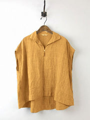 Daily Sleeveless Solid Cotton Casual Shift Buttoned Top-TOPS-Wotoba-ORANG-S-Wotoba