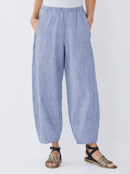 Daily Plus Size Pockets Cotton Linen Pants-Bottom-Wotoba-Blue-S-Wotoba