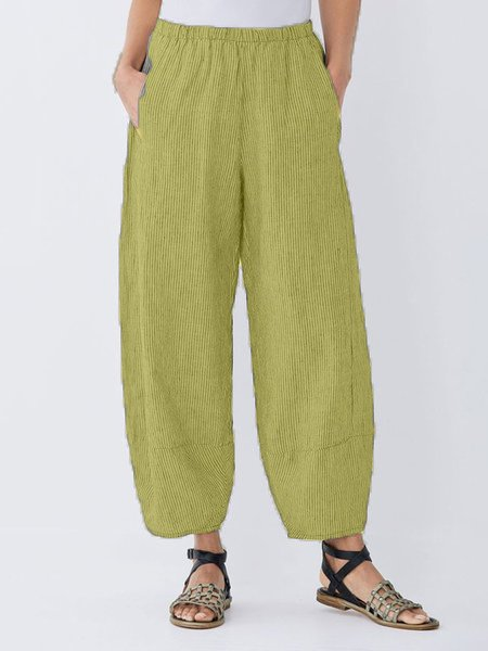 Daily Plus Size Pockets Cotton Linen Pants-Bottom-Wotoba-Mustard-S-Wotoba