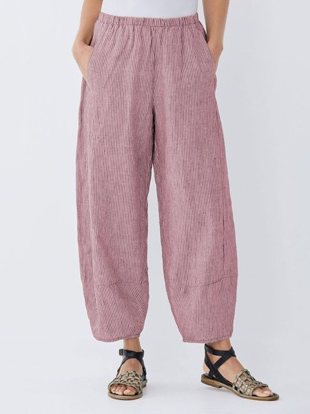 Daily Plus Size Pockets Cotton Linen Pants-Bottom-Wotoba-Pink-S-Wotoba
