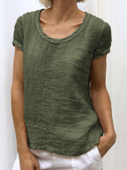 Summer Short Sleeve Round Neck Casual Solid T-Shirts-TOPS-Wotoba-Green-S-Wotoba