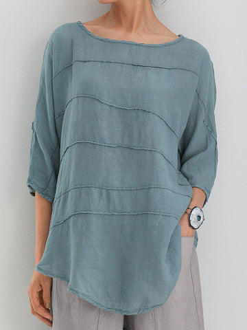 Summer Tops 3/4 Batwing Sleeves Round Neck Solid Blouses-Top-Wotoba-Green-S-Wotoba