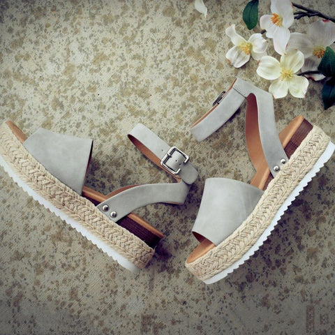 Summer Adjustable Buckle Platform Sandals-Shoe-Wotoba-Wotoba