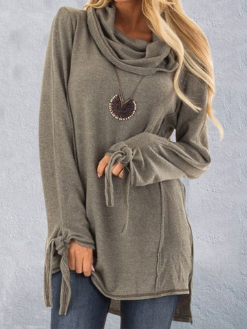 Women Long T-Shirts Casual Daily Cotton Cowl Neck Plus Size Sweater-Top-Wotoba-Grey-S-Wotoba