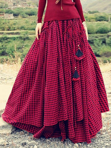 Plaid Skirts Casual Cotton-blend Skirts for Women-dress-Wotoba-Red-S-Wotoba